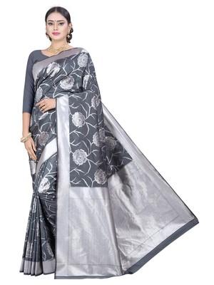 Silver and Grey Zari Work Art Silk Raw Silk Saree with Blouse Piece
