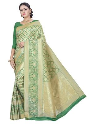Green Gold Zari Work Art Silk Raw Silk Saree With Blouse Piece