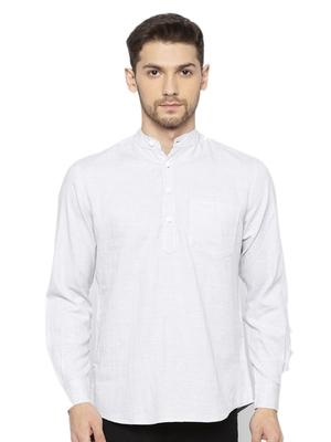 Mens Light Grey Indo Western Three Button Cotton Short Kurta