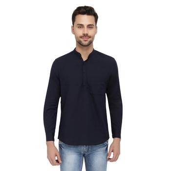 Mens Navy Blue Indo Western Three Button Cotton Short Kurta