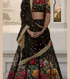 Black embroidered art silk semi stitched lehenga