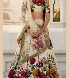 Cream Embroidered Art Silk Semi Stitched Lehenga