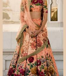 Peach Embroidered Art Silk Semi Stitched Lehenga