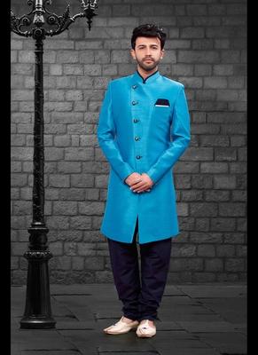 Blue plain art dupion silk indo-western-dresses