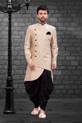 Beige plain art dupion silk indo-western-dresses