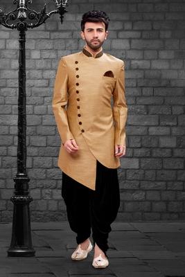 Fawn plain art dupion silk indo-western-dresses