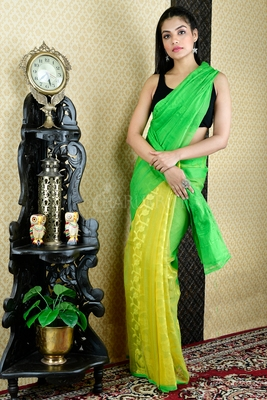 GREEN AND YELLOW JAMDANI WITH THREAD WEAVE