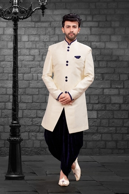 White plain art dupion silk indo-western-dresses