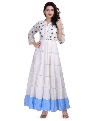 White Embroidered Long Ethnic Kurtis