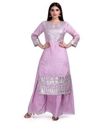Purple Embroidered Long Ethnic Kurtis