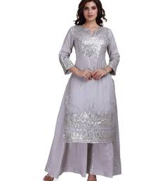 Grey Embroidered Long Ethnic Kurtis