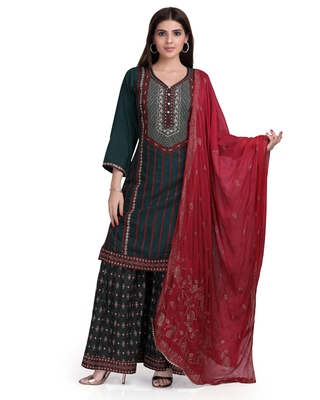 Green embroidered cotton silk salwar