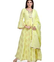 Yellow embroidered pure cotton salwar