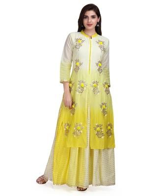 Yellow Embroidered Long Ethnic Kurtis
