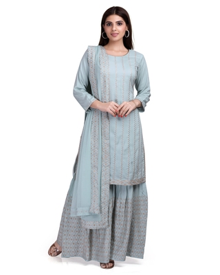 Grey embroidered rayon salwar