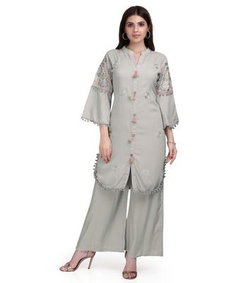 Grey embroidered rayon salwar