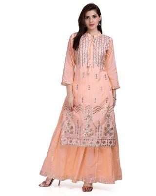 Orange Embroidered Long Ethnic Kurtis