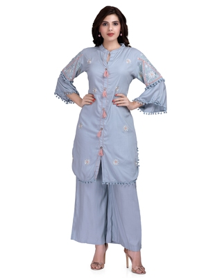 Blue embroidered rayon salwar