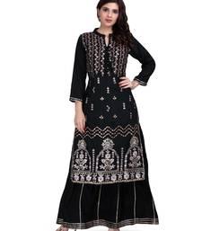 Black Embroidered Long Ethnic Kurtis