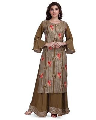 Brown embroidered cotton silk salwar