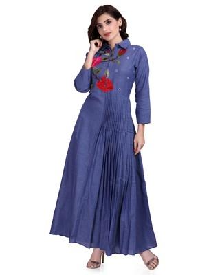 Blue Embroidered Long Ethnic Kurtis