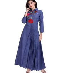 Blue Embroidered Long Ethnic Kurtis