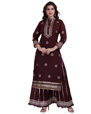 Maroon embroidered pure cotton salwar