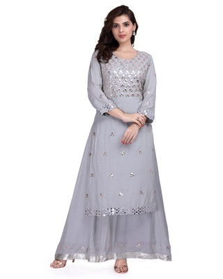 Silver Embroidered Long Ethnic Kurtis