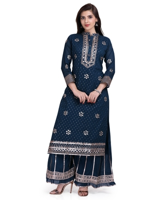 Blue embroidered pure cotton salwar