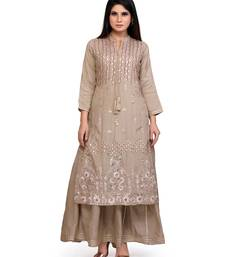 Gold Embroidered Long Ethnic Kurtis