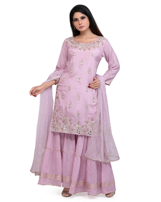 Lilac Cotton Silk Kurta Sharara & Dupatta Embroidered Ethnic Set