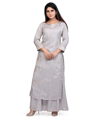 Grey Embroidered Cotton Silk Kurta & Palazzo Pant Ethnic Set