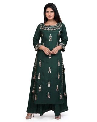Green Embroidered Cotton Silk Kurta & Palazzo Pant Ethnic Set