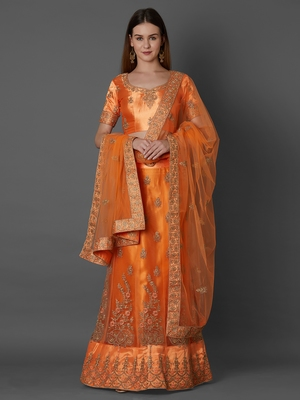 Orange embroidered art silk unstitched lehenga