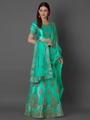 Turquoise embroidered art silk unstitched lehenga