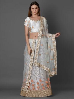 Silver embroidered art silk unstitched lehenga