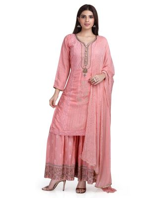 Pink Peach Cotton Silk Kurta Sharara & Dupatta Embroidered Ethnic Set