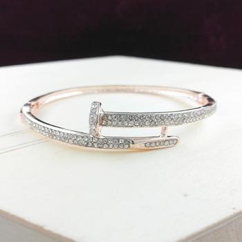 Saizen Bracelets for Women Rose Gold Plated Crystal Bracelet Bangle Jewellery for Girls and Women