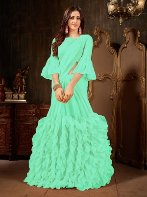 Turquoise plain georgette ruffle saree with blouse