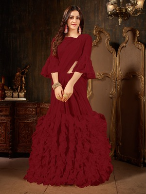 Maroon plain georgette ruffle saree with blouse