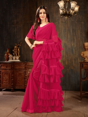 Magenta plain georgette ruffle saree with blouse