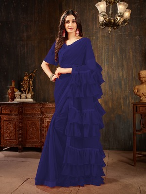 Blue plain georgette ruffle saree with blouse