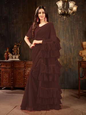 Brown plain georgette ruffle saree with blouse