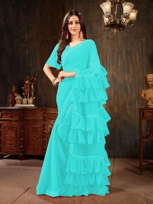 Light blue plain georgette ruffle saree with blouse
