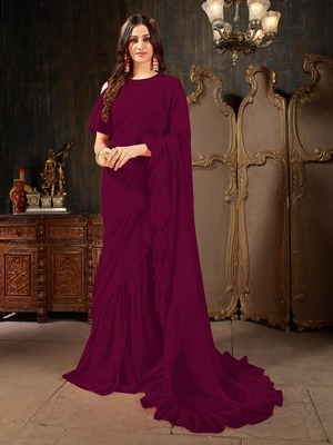 Wine plain georgette ruffle saree with blouse