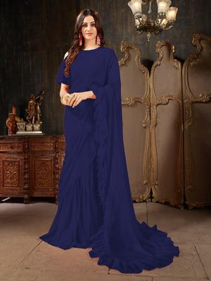 Navy blue plain georgette ruffle saree with blouse