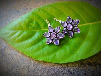 Oxidised Metal Glass Kundan Earring
