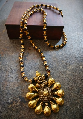Oxidised Metal Antique Gold Mangalsutra