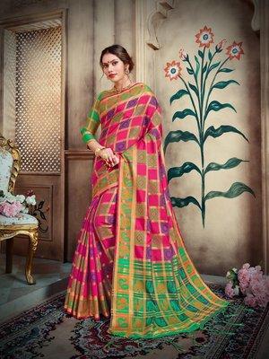Dark pink woven silk blend saree with blouse