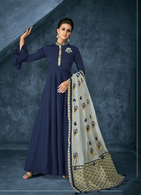 Navy-blue embroidered pure silk salwar